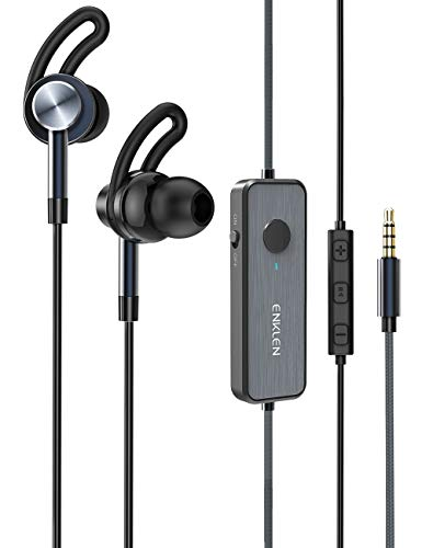 ENKLEN Active Noise Cancelling Earbuds, Wired Stereo Earbuds in-Ear Awareness Monitor Headphones with Microphone and Remote, 3.5mm Jack, 20 Hours ANC Playtime