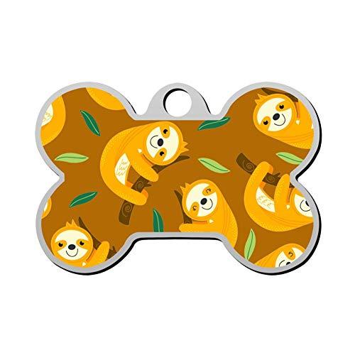- HOJEY Custom Sloth Hug Pet ID Tag Bone Shape Personalized Dog Tags & Cat Tags Identity Collar Tags