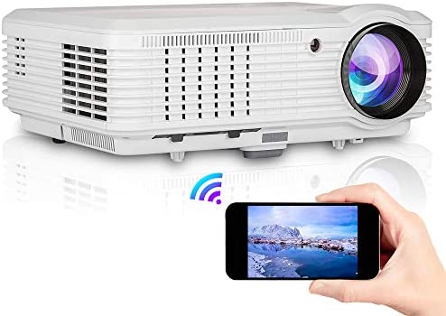 WiFi Projector, 5000 Lux Full HD Video Projector Bluetooth 1080P Home Theater, Wireless Screen Mirroring for iOS/Android, Compatible with PS4, TV Stick, PC, Laptop, HDMI, USB, VGA for Outdoor Movies
