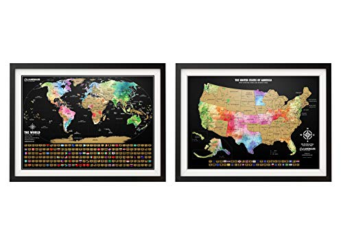 """Landmass Scratch Off Map of The World Poster + Scratch Off Map of The United States – Two 24x17"""" Travel Tracker Maps with Flags – Detailed Cartography - Excellent Gift for Travelers"""