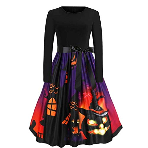 Womens Round Neck Short Sleeve Fit and Flare Skater Midi Casual Christmas Dress(Black,X-Large)