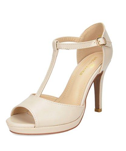 DREAM PAIRS Women's GAL_15 Nude Pu Fashion Stiletos Heeled Sandals Size 8 B(M) US