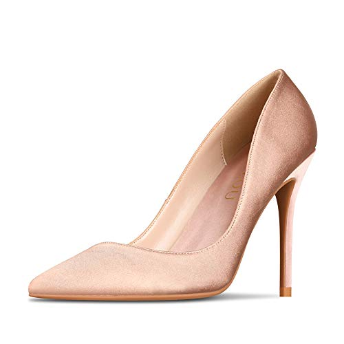 GOXEOU Women's Sexy Satin Pumps High Heels Pointed Closed Toe Stiletto Dress Party Wedding Evening Shoes - 4inch ()