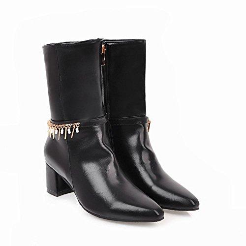 Charm Foot Womens Western Zipper Chunky Mid Zipper Stivali A Metà Polpaccio Neri