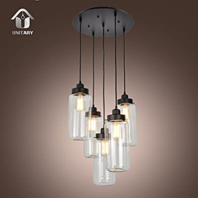 UNITARY BRAND Vintage Large Glass Mason Jar Pendant Light Max 300W With 5 Lights Painted Finish