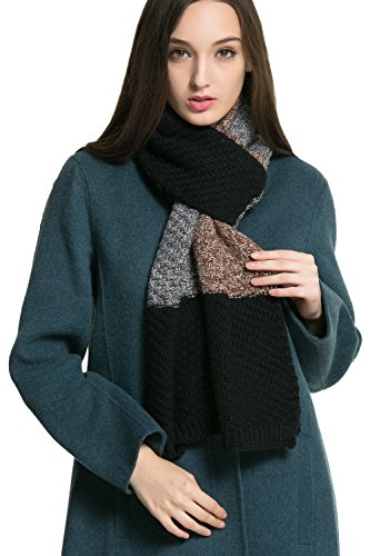 Women Men Winter Thick Cable Knit Wrap Chunky Warm Scarf All Colors Cont Black B (Subway Scarf)