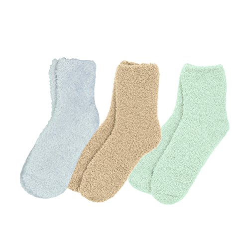 - Soft Winter Fuzzy Plush Socks - 3 Pairs Set, Plain V1 (lgry, cam, min)