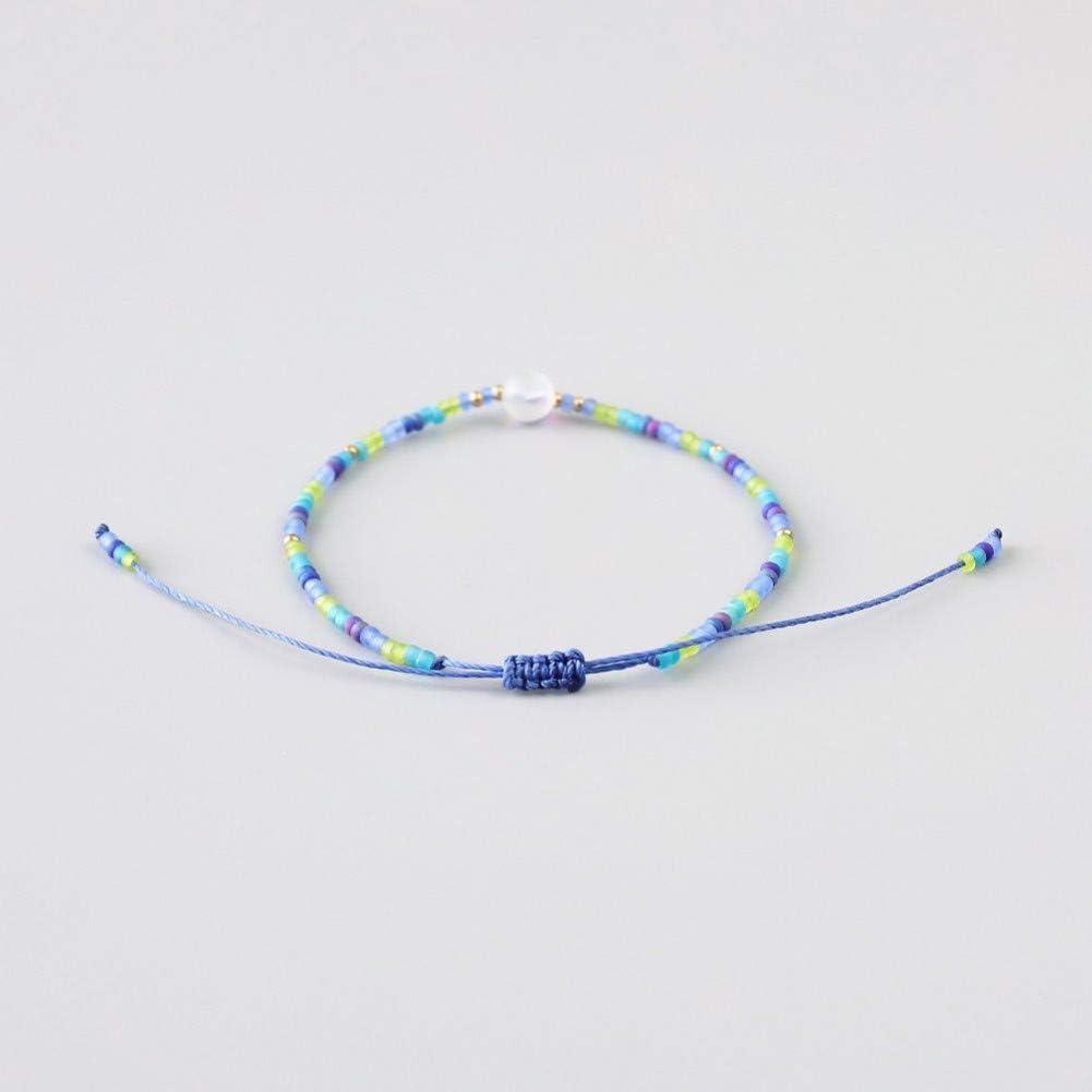 VKGJMHD - Pulsera de cristal de sirena, cuentas de hilo de cera, pulsera de cristal natural, bohemia, traer suerte como pulseras de regalo