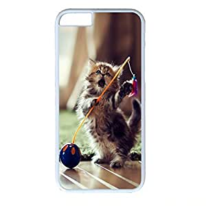 Hard Back Cover Case for iphone 6 Plus,Cool Fashion White PC Shell Skin for iphone 6 Plus with Lovely Playful Kitten