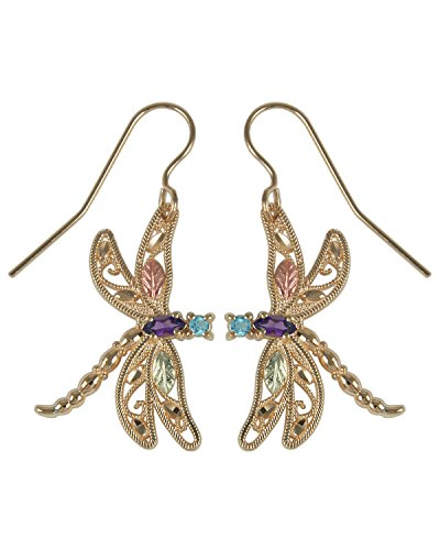 Amethyst and Blue Topaz Dragonfly Earrings, 10k Yellow Gold, 12k Rose and Green Gold Black Hills Gold Motif - Dragonfly Yellow Earrings