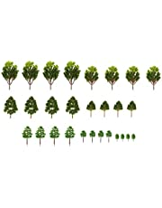 T TOOYFUL Mixed Model Trees, 1.38-5.12 Inches (3.5 -13 cm), Ho Scale Trees, Diorama Trees, Model Train Scenery, Pair Plastic Trees - Green, Set 4
