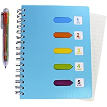 Lined Notebook & Multicolor Pen - 200 Pages A5 Planner Journal with 5 Divider Tabs & 6-in-1 Retractable Ballpoint Color Pen - Best for Note Taking - College Ruled Spiral Notebook By Hieno Supplies