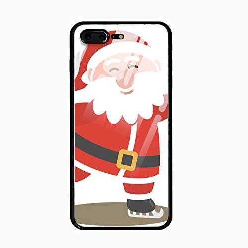 iPhone 8 Plus &7 Plus Case,Tempered Glass Case Soft TPU Bumper Ice Skating Santa Claus Phone Case for iPhone 8 Plus &7 Plus