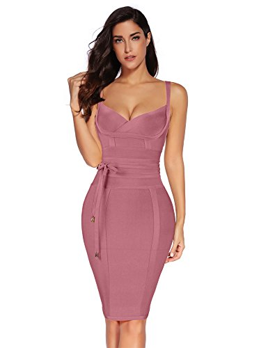 Meilun Womens Rayon Belt Detail Bandage Bodycon Party Dress (L, Antique Pink)