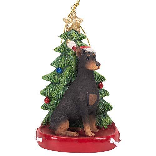 K. Adler Doberman 4 Inch Santa Dog Resin Christmas Ornament ()