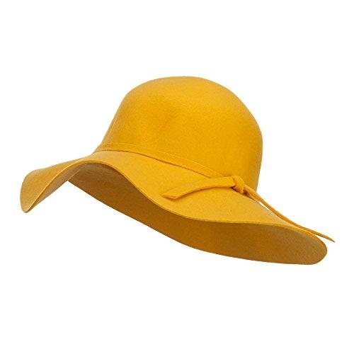 Wool Felt Wide Floppy Brim Hat - Yellow OSFM -