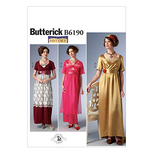 Butterick B6190 E5 Empire-Waist Dress, Jacket and Headbands Sewing Pattern, Size - Dress Waist Pattern