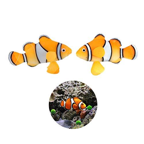 LDEXIN 2 Pack Silicone Artificial Aquarium Floating Clownfish Decoration Fish Tank Decor Underwater Saltwater Fake Fish Glowing ()