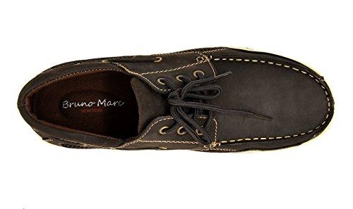 Bruno Marc Mens Pitts Cuir Véritable Mocassins Bateau Chaussures Marron