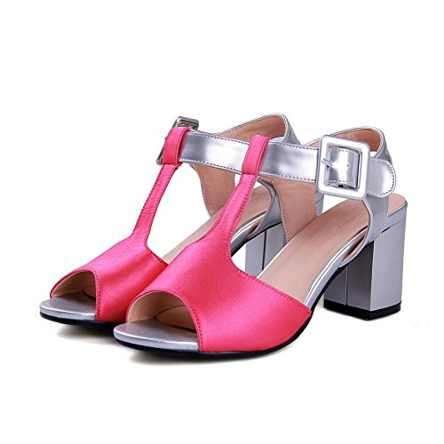 Amoonyfashion Mujer-kitten-heels Charol Surtido De Hebilla De Color Open Toe Sandals Rosered