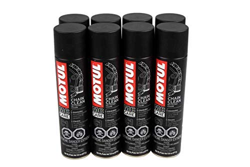 Motul 103243 C1 Chain Clean O, X & Z-Ring Compatible 400mL/9.8 Fl oz Can 8 Pack