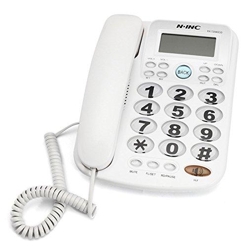 RISHIL WORLD Big Button Corded Phone Landline Telephone Extension Fixed Phon Desktop Home Office Equipment White Single Item. from RISHIL WORLD