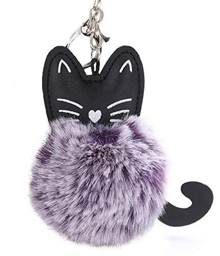 (Youngate Cute Pompoms Faux Fur Puff Ball Cat Keychain Bag Car Ring Pendant Handbag Keyring purple)