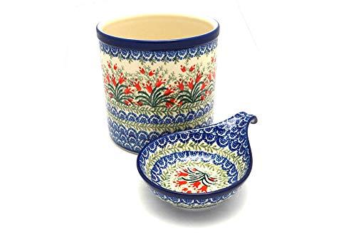 Polish Pottery Utensil Holder Set Crimson Bells
