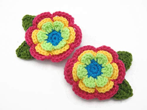 Hair Clip Flower Crochet Decorative Accessories Girl Orange Pink