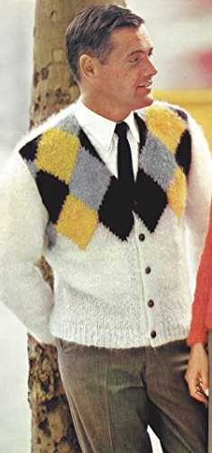 Knitting Mohair Patterns (Vintage Knitting PATTERN to make - Men's Mohair Argyle Sweater Cardigan MensMohair. NOT a finished item. This is a pattern and/or instructions to make the item only.)
