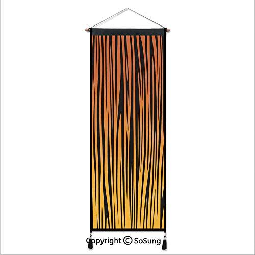 (Animal Print Decor Tapestry Wall Hanging,Vertical Curvy Lines Stripped Tiger Skin Pattern Print Artful Design Illustration,Home Art Decor Beautiful Apartment Dorm Room Decoration,17.7