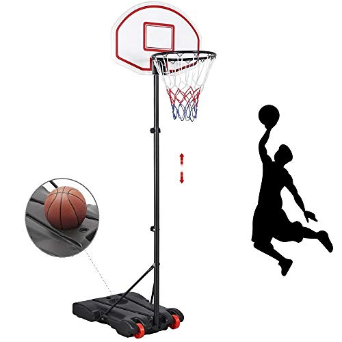 Yaheetech Portable Basketball Hoop System Height Adjustable Basketball Stand for Kids Indoor/Outdoor w/Wheels, 29 Inch Backboard