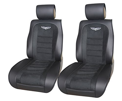 180301 Black-2 Front Car Seat Cover Cushions Leather Like Vinyl & Suede , Compatible to Nissan Altima 370Z Armada Frontier Juke Leaf March Maxima Pathfinder Rogue Quest Sentra Tiida Versa X-Trail