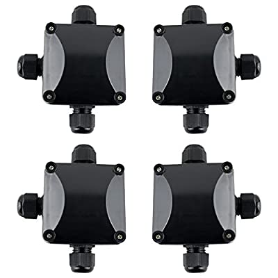 GWHOLE 4Pcs Waterproof IP66 Outdoor 3 Way Electric Junction Project Box, Black