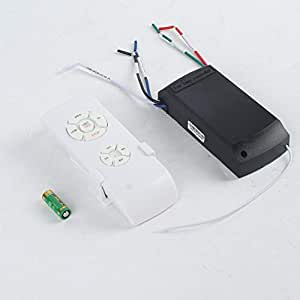 Universal Ceiling Fan Lamp Remote Control Kit 110-240V Timing Wireless Control Switch Adjusted Wind Speed Transmitter Receiver - White