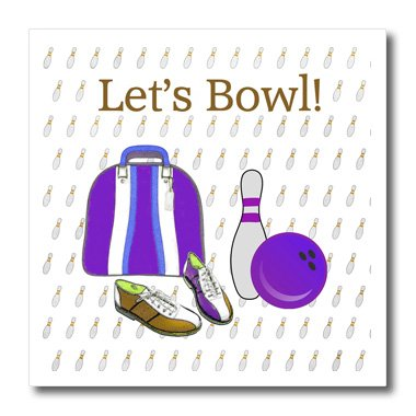 Pin Bowling Photo (3dRose Lets Bowl, Bowling Ball, Pins, Shoes and Bag, Purple, Green, Brown-Iron on Heat Transfer, 10 by 10