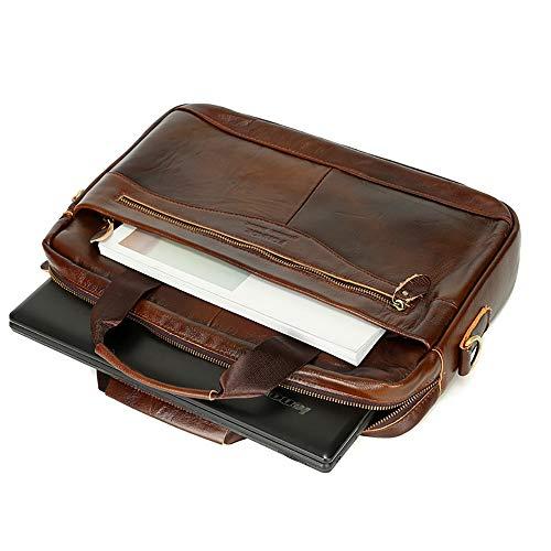 Messenger Pulgadas Del 1 Bolso Vintage Impermeable Balalala 14 Hombre Hombro Laptop Business Leather Mochila De Para Maletín Portátil Bag Computadora Leisure La wwx6qta