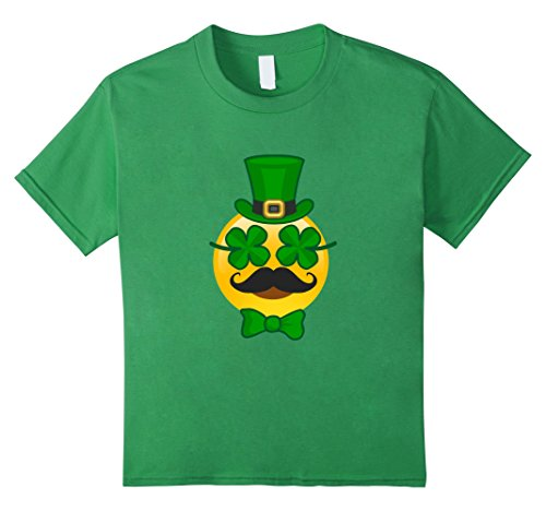 [Kids St Patricks Day Emoji T-Shirt Funny Mustache Men Girls Boys 12 Grass] (Princess Outfit Ideas)