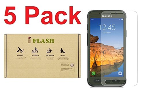[5 Pack Promotion] iFlash Tempered Glass Screen Protector For Samsung Galaxy S7 Active (NOT S7 Model) - Crystal Clear / 2.5D Rounded Edges / 9H Hardness / Scratch Proof / Bubble Free / Oleophobic