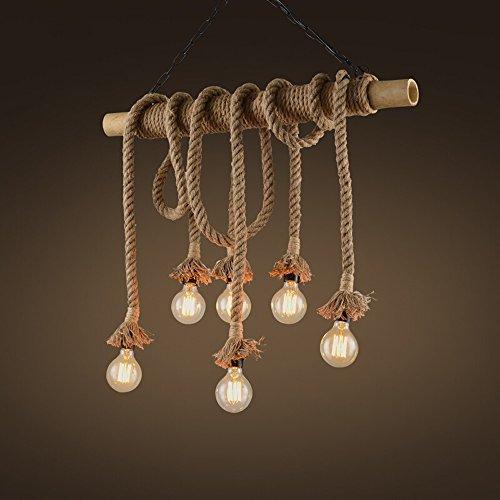 Cilindro de bambú Lámpara de caña de cáñamo American Retro Simple Creativa Luces Decorativas Restaurante Bar Café...