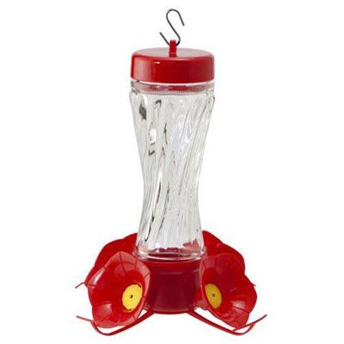 WOODLINK - Bird Feeder, Hummingbird, Clear Swirl Glass, 8-oz. NA35223