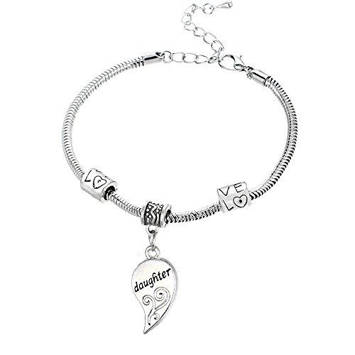 Yeeqin 2pcs Matching Heart Mother Daughter Bracelets