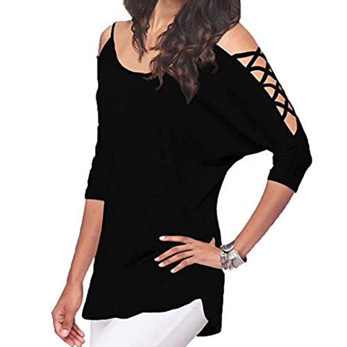 Trendinao Women's Casual Hollowed Out Cold Shoulder Half Sleeve Tops BK/M (Black,Medium) -
