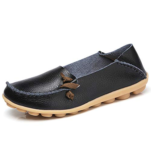 Flat Shoes China - Lucksender Womens Soft Leather Comfort Driving Loafers Shoes 10.5B(M) US Black
