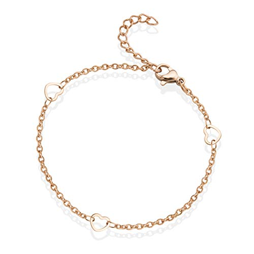 555Jewelry Womens Girls Stainless Steel Chain Multiple Heart Shape Charm Link Eternal Love Cute Link Chain Gift Delicate Dainty Fashion Accessory Jewelry Bangle Bracelet, Pink Rose Gold