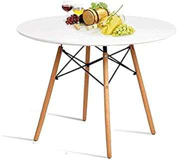 HAYOSNFO Round Dining Table, White Kitchen Table, Pedestal Coffee Table,  Modern Leisure Table with Wooden Legs and MDF Top, Also for Office & ...