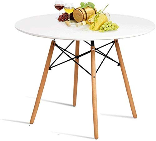 HAYOSNFO Round Dining Table, White Kitchen Table, Pedestal Coffee Table, Modern Leisure Table with Wooden Legs and MDF Top, Also for Office & Conference