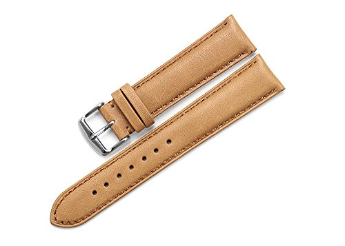 Brown Calfskin Mens Strap - iStrap 19mm Genuine Calfskin Leather Watch Band Padded Strap Steel Spring Bar Buckle Super Soft - Brown