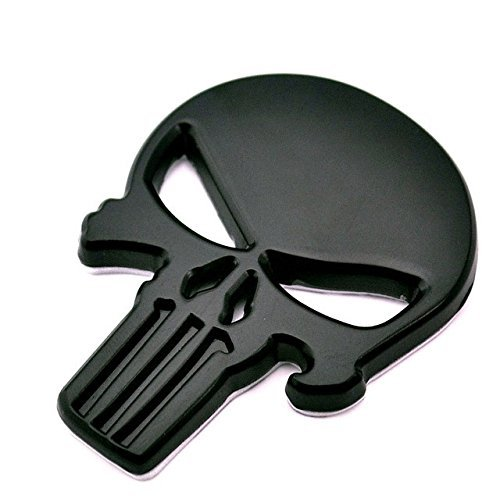 Badge Decal Car (BENZEE B561-B Black Skull Punisher Car Styling Emblem Decal Badge Sticker Metal 2.3 x 1.7 inch)