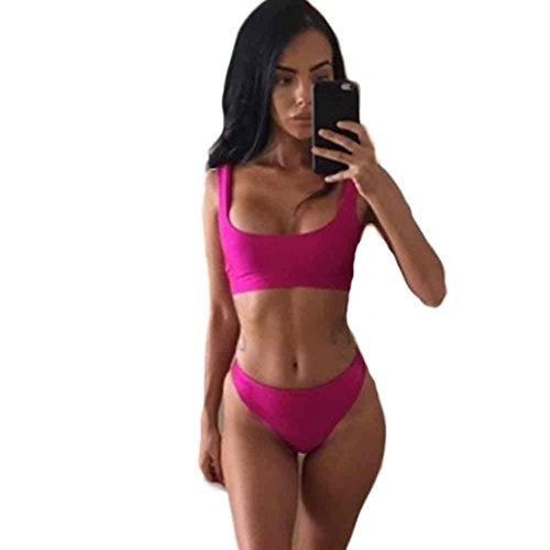 HARRYSTORE Casual mujeres vendaje bikini conjunto traje de baño traje de baño de color sólido Beachwear Rosa caliente